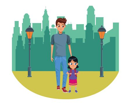 Family single father with kid holding school backpack in the city park scenery background vector illustration graphic design 일러스트