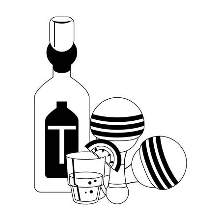 mexico culture and foods cartoons tequila bottle and glass lemon cut on the edge of the glass and the rattles vector illustration graphic design