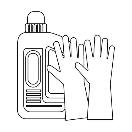Cleaning equipment and products soap bottle with gloves vector illustration graphic design. Illusztráció