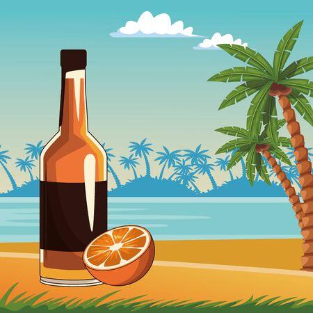 alcoholic drink beverage wine bottle with delicious fruit cartoon vector illustration graphic design Illusztráció