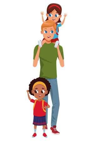 Family single father with kids holding school backpack isolated vector illustration graphic design
