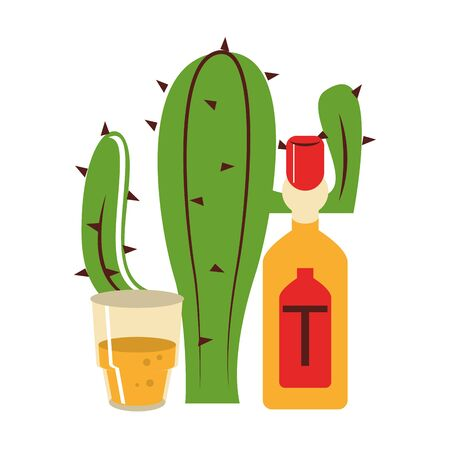 mexico culture and foods cartoons tequila bottle and glass also cactus vector illustration graphic design