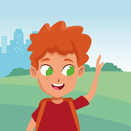 adorable cute young redhead boy face wih green eyes happy childhood cartoon in the city park, nature and urban scenery ,vector illustration graphic design.