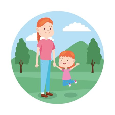 cartoon mother with her daughter in the park, colorful design , vector illustration