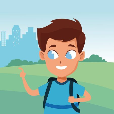 adorable cute young boy face with brown hair and blue eyes happy childhood cartoon in the city park, nature and urban scenery ,vector illustration graphic design.