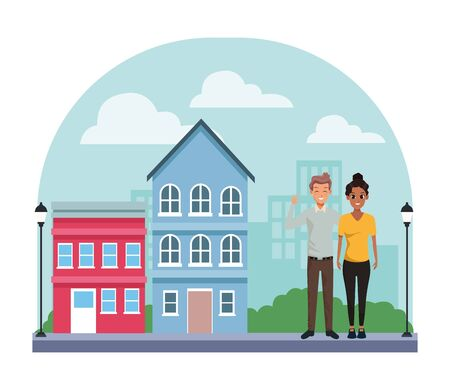 Young executive man and woman couple smiling and greeting cartoon in city neighborhood scenery with houses vector illustration graphic design.