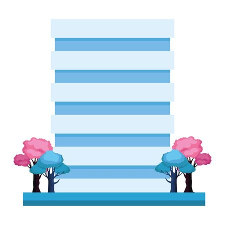 trees and buidings icon over white background, vector illustration
