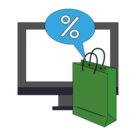 online shopping ecommerce sale, buying by computer cartoon vector illustration graphic design Illustration