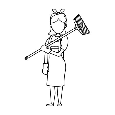 Cleaner woman worker smiling with broom vector illustration graphic design. Foto de archivo - 134309580