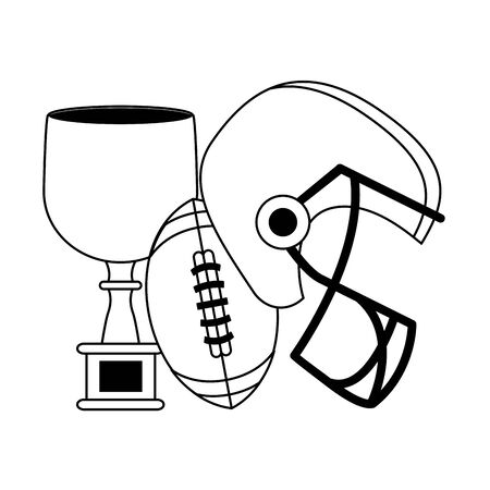 american football sport game champion trophy with ball and helmet cartoon vector illustration graphic design Illustration