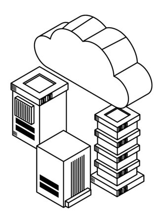cloud computing technology 3d symbol and database servers isolated vector illustration graphic design