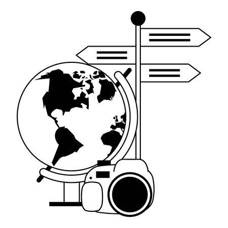 Summer earth globe camera and signpost cartoons vector illustration graphic design