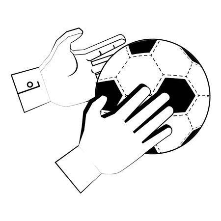Soccer football sport game goalkeeper gloves holding ball vector illustration graphic design Ilustração