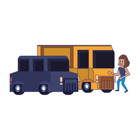 Retro videogame pixelated van and bus with woman cartoons isolated vector illustration graphic design Illustration