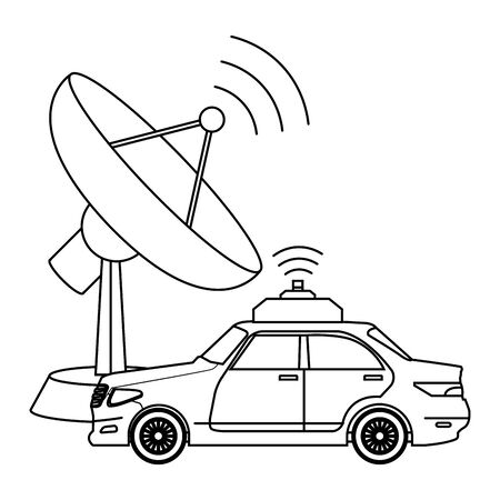 wireless internet and radio technology modern connection with car gps location cartoon vector illustration graphic design