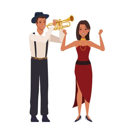 cartoon musician playing trumpet and dancer lady over white background, colorful design. vector illustration