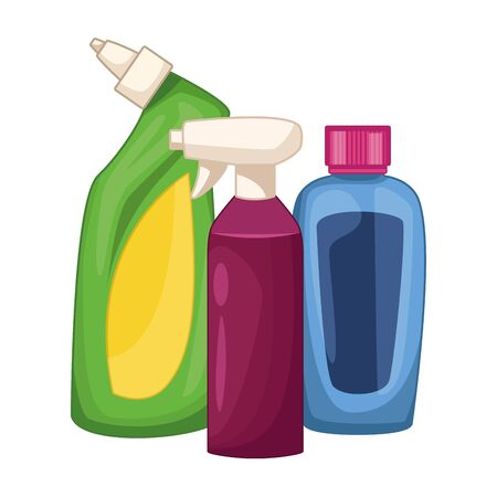 cleaning and hygiene equipment liquid soap, spray cleaner and cleaning shampoo vector illustration graphic design Foto de archivo - 134316048