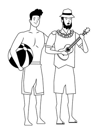 Young men friends enjoying summer with swimsuit playing guitar vector illustration graphic design Ilustracja