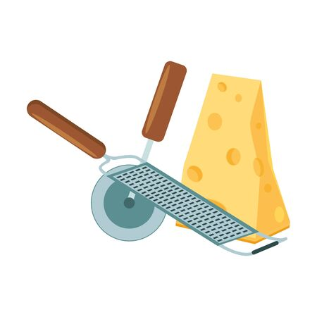 grater and cutter with piece of cheese over white background, vector illustration Illustration