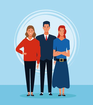 cartoon women and man standing and wearing casual clothes over blue background, colorful desgin. vector illustration