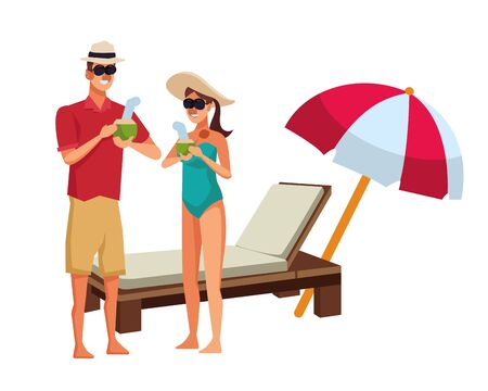 young couple enjoying summer time with sunchair and umbrella vector illustration graphic design