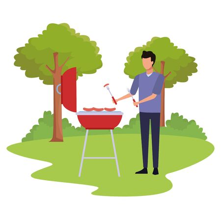 avatar man cooking in a bbq grill outdoor over white background, colorful design , vector illustration