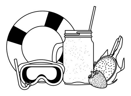summer beach and vacation with tropical smoothie, lifebuoy, snorkel, strawberry and pitahaya icon cartoon in black and white vector illustration graphic design