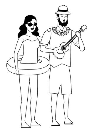 Young couple enjoying summer in swimsuit playing guitar vector illustration graphic design Ilustracja