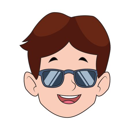 cartoon happy boy with sunglasses icon over white background, colorful design. vector illustration