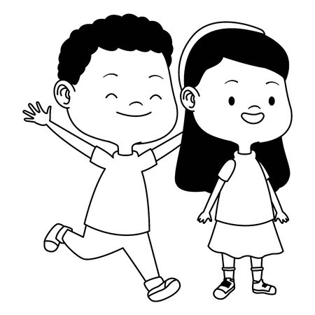 Happy kids boy and girl smiling and playing vector illustration graphic design. Vektorgrafik