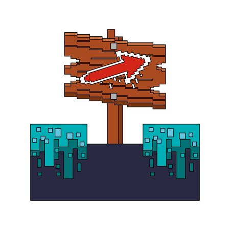 videogame pixelated retro art digital entertainment, wooden arrow direction sign cartoon vector illustration graphic design