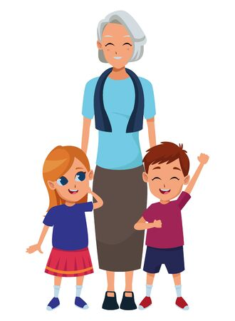 Family grandmother hand of with grandchildren's cartoons vector illustration graphic design