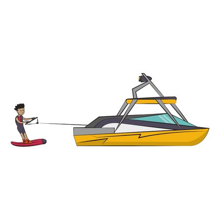 Young man training wake boarding with boat vector illustration graphic design