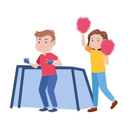 young couple characters playing soccer and cheerleader vector illustration design