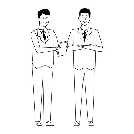 cartoon business men standing icon over white background, vector illustration