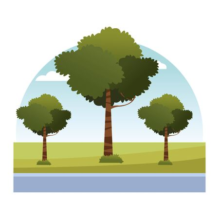 leafy trees in the grass and sky with cloud icon cartoon vector illustration graphic design Zdjęcie Seryjne - 134316453