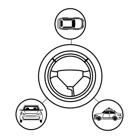 car transport sedan vehicle with steering wheel cartoon vector illustration graphic design
