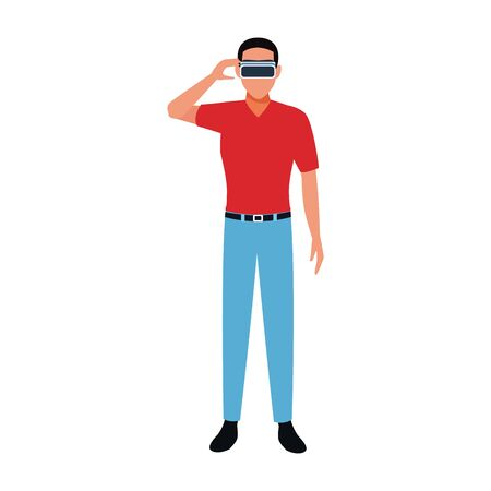 Man with smart glasses design, Augmented reality virtual technology device and modern theme Vector illustration