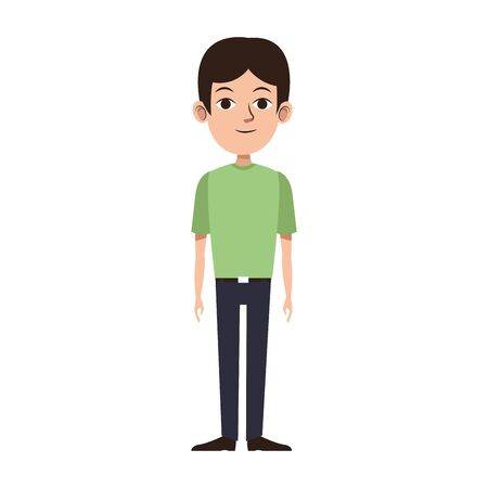 young man standing icon over white background, vector illustration Illustration