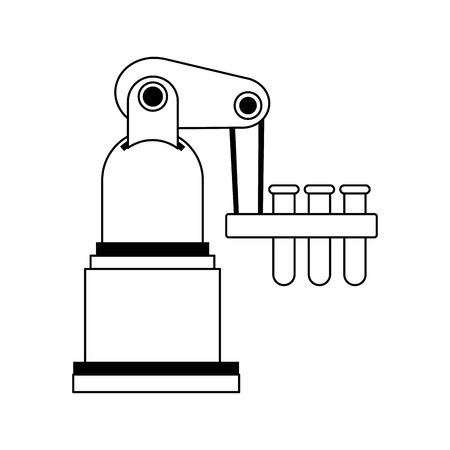 robotic arm with test tubes icon over white background, vector illustration