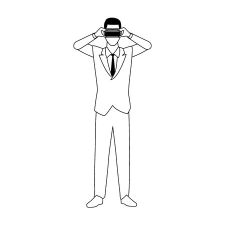 businessman with virtual reality glasses icon over white background, vector illustration