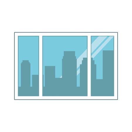 window with city buildings view over white background, vector illustration