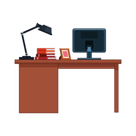 scrivania da ufficio con computer e lampada da tavolo su sfondo bianco, illustrazione vettoriale