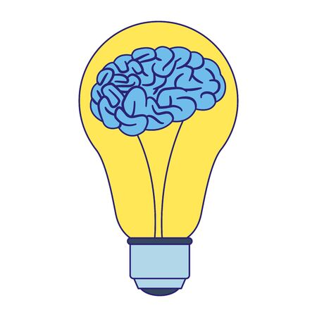 Bombilla con icono de cerebro sobre fondo blanco, ilustración vectorial