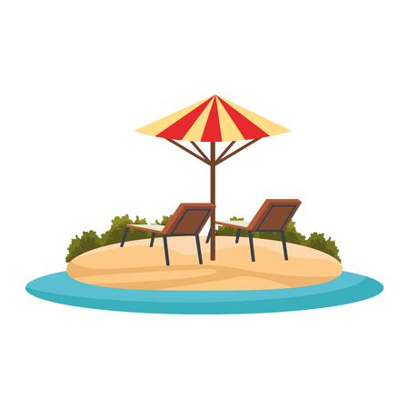 beach with parasol and seats icon over white background, vector illustration