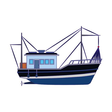 fishing boat icon image over white background, vector illustration Illusztráció