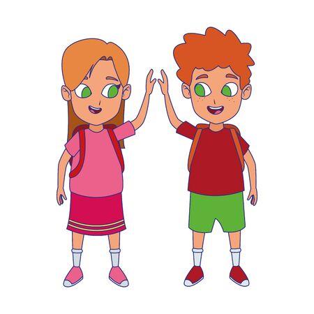 Cartoon bambini felici con gli zaini della scuola su sfondo bianco, design colorato, illustrazione vettoriale Vettoriali