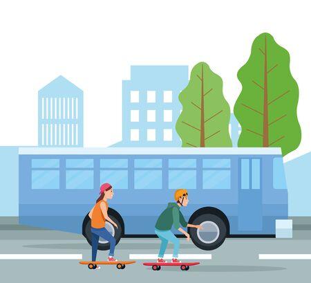 Boys on skateboards design, transportation drive travel traffic speed road and theme Vector illustration  イラスト・ベクター素材