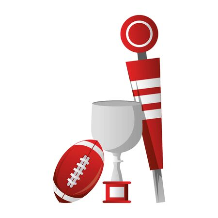 american football sport game champion trophy with ball and sideline cartoon vector illustration graphic design Illustration