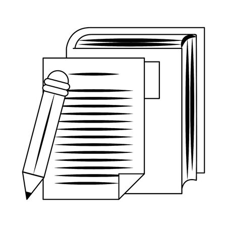 pencil with book and paper page over white background, vector illustration